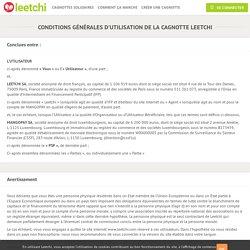 CONDITIONS GÉNÉRALES D'UTILISATION DE LA CAGNOTTE LEETCHI