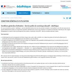 Éduthèque-Conditions Générales d'Utilisation