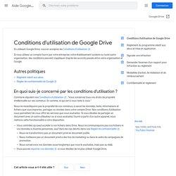 Conditions d'utilisation de GoogleDrive