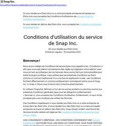 Conditions d'utilisation du service–Snap Inc.