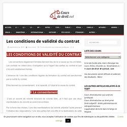 Les conditions de validité du contrat