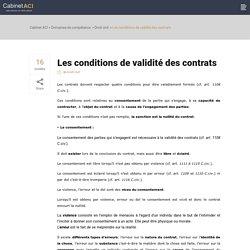 Quelles sont les conditions de validité des contrats ?