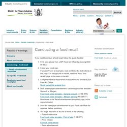 Conducting a food recall, Recalls & warnings, MAF, food