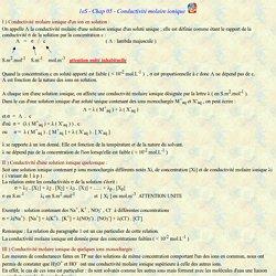1eS - Chap 05 - Conductivité molaire ionique