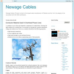 Newage Cables: Conductor Material Used In Overhead Power Lines