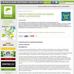 CODE DE CONDUITE POUR UN CANNABIS SOCIAL CLUB EUROPEEN