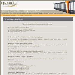 La conduite de réunion efficace - dossier thématique pour le management de la qualité