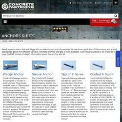 Anchors & Bits CONFAST® – Concrete Fastening Systems, Inc.