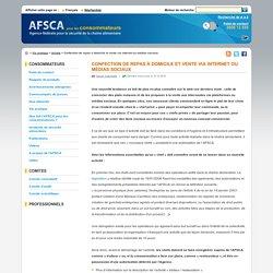 AFSCA: Confection de repas à domicile et vente via internet ou médias sociaux