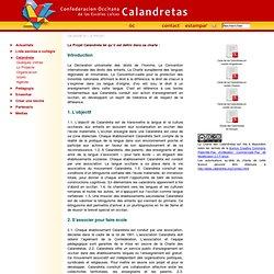 Le Projet - Confederacion occitana de la Calandretas