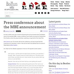 June 12th, 1965 : Press conference about the MBE announcement