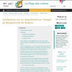Conférence sur Le Supplément au Voyage de Bougainville de Diderot