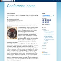 Books for English: ETANSW Conference 2014 Part II
