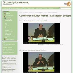 Conférence d'Eirick Prairat - La sanction éducative - Circonscription de Muret