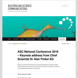 ASC National Conference 2016 – Keynote address from Chief Scientist Dr Alan Finkel AO
