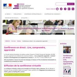 Conférence en direct : Lire, comprendre, apprendre