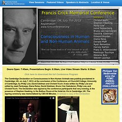 Francis Crick Memorial Conference 2012: Consciousness in Animals