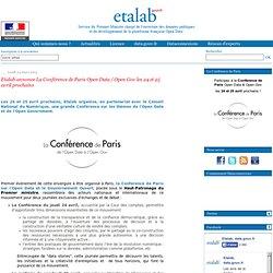 Etalab annonce La Conférence de Paris Open Data / Open Gov les 24 et 25 avril prochains