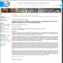 Conférence UNESCO sur l'EDD 2014