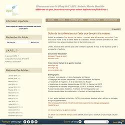 Suite de la conférence sur l'aide aux devoirs à la maison - Blog de l'APEL Sainte Marie de la Bastide