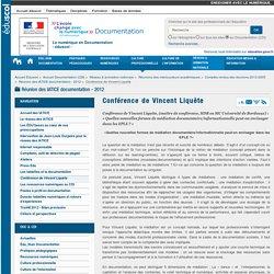 Conférence de Vincent Liquète — Documentation (CDI)