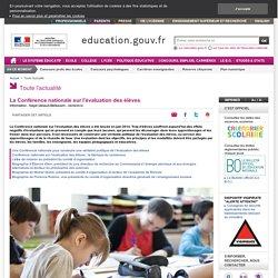 La Conférence nationale sur l'évaluation des élèves - Ministère de l'Éducation nationale, de l'Enseignement supérieur et de la Recherche