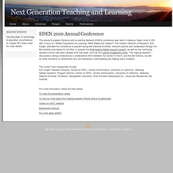 EDEN 2010 Annual Conference | Next Generation Teaching and Learn