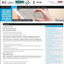 """Programme — Conférence 2017 """"Cultures numériques, éducation aux médias et à l'information"""""""