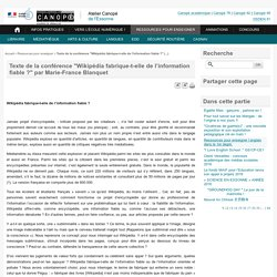 """Texte de la conférence """"Wikipédia fabrique-t-elle de l'information fiable ?"""" par Marie-France Blanquet - Atelier Canopé de l'Essonne"""