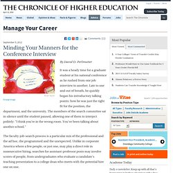 Minding Your Manners for the Conference Interview - Manage Your Career