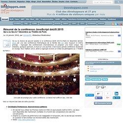 Résumé de la conférence JavaScript dotJS 2015 qui a eu lieu le 7 décembre au Théâtre de Paris