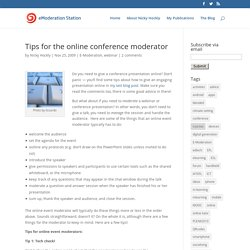 Tips for the online conference moderator