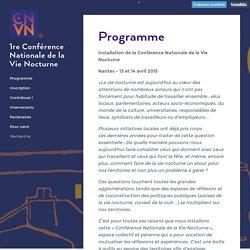 1re Conférence Nationale de la Vie Nocturne - Programme