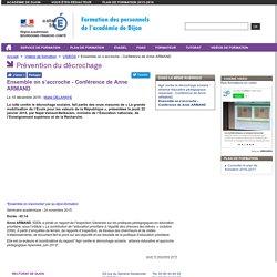 Ensemble on s'accroche - Conférence de Anne ARMAND - Formation des personnels de l'académie de Dijon