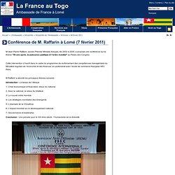 Conférence de M. Raffarin à Lomé - La France au Togo
