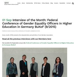 Interview of the Month: Federal Conference of Gender Equality Officers in Higher Education in Germany BuKoF (9/2015)