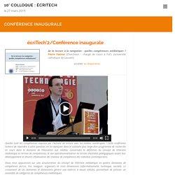Conférence inaugurale | 2° Colloque : Ecriture et technologie