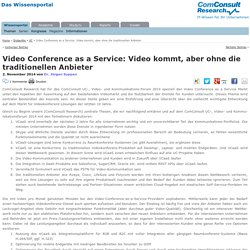 Video Conference as a Service: Video kommt, aber ohne die traditionellen Anbieter ‹ ComConsult Research