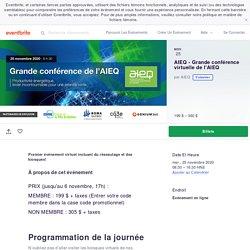 AIEQ - Grande conférence virtuelle de l'AIEQ Billets, mer, 25 nov. 2020 à 08:30