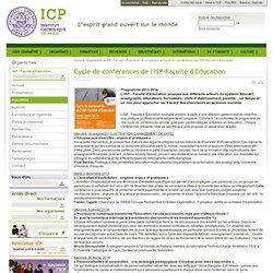 Cycle de conférences de l'ISP-Faculté d'Education