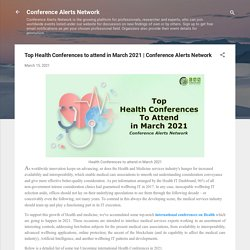 Top Health Conferences to attend in March 2021
