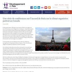 Une série de conférences sur l'Accord de Paris sur le climat organisées partout au Canada