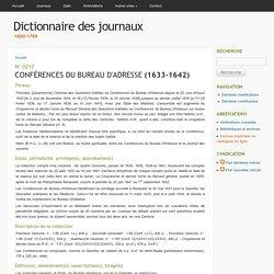 CONFÉRENCES DU BUREAU D'ADRESSE