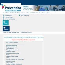 Conférences Préventica Paris 2017