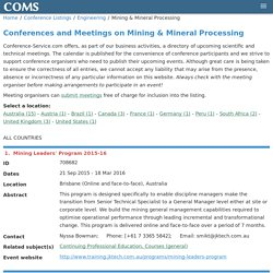 Conferences and Meetings on Mining & Mineral Processing
