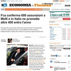 Fca conferma 600 assunzioni a Melfi e in Italia ne promette altre 400 entro l'anno