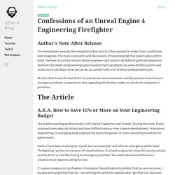 Confessions of an Unreal Engine 4 Engineering Firefighter
