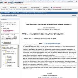 Loi n° 2004-575 du 21 juin 2004 pour la confiance dans l'économie numérique