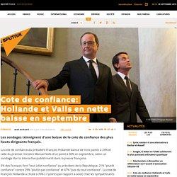 Cote de confiance: Hollande et Valls en nette baisse en septembre