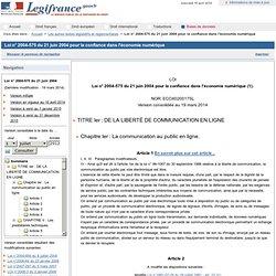 Loi 2004-575 du 21/06/2004 sur l'économie numérique